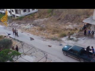 Война в Сирии, 2013 г. Боевиков ССА накрыло снарядом